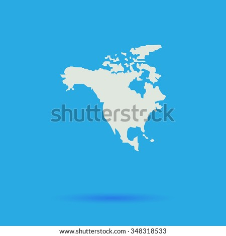 north america White flat simple pictogram on blue background with shadow  - stock photo