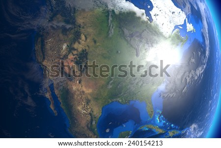 North America with Canada and the USA: computer generated image of planet earth in space.  Elements of this image furnished by NASA. - stock photo