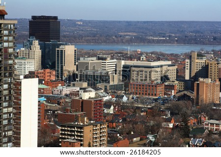 North-american Downtown in cold  sunny day. Urban landscape of downtown Hamilton Ontario. - stock photo