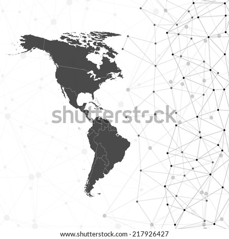 North and South America map illustration, background for communication - stock photo