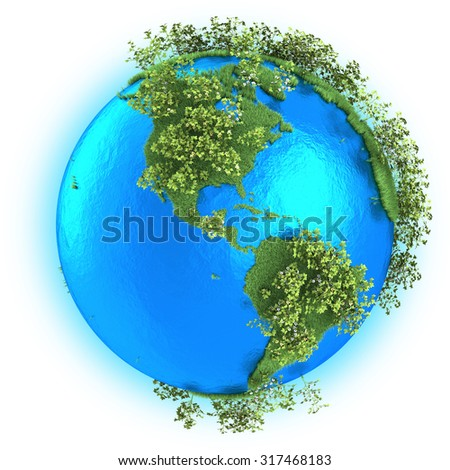North and South America on grassy planet Earth with cotton isolated on white background - stock photo