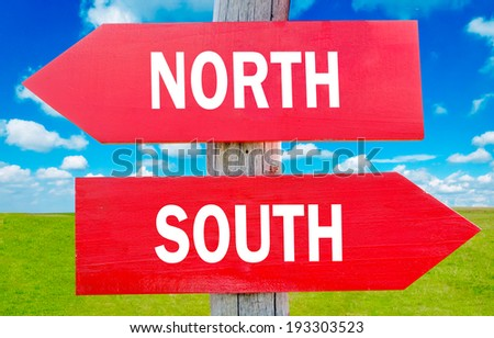 North and south choice showing strategy change or dilemmas - stock photo