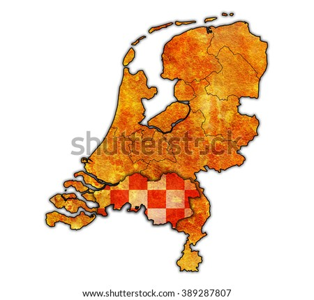 north brabant flag on map with borders of provinces in netherlands - stock photo