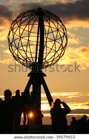 north cape globe midnight sunset, nordkapp, norway - stock photo