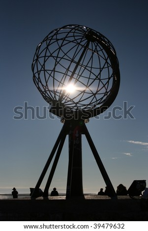 north cape globe, nordkapp, norway - stock photo