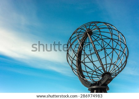 North Cape (Nordkapp), on the northern coast of the island of Mageroya in Finnmark, Northern Norway. - stock photo