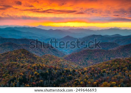 North Carolina Blue Ridge Parkway Mountains Sunset Scenic Landscape near Asheville, NC during the autumn fall foliage - stock photo