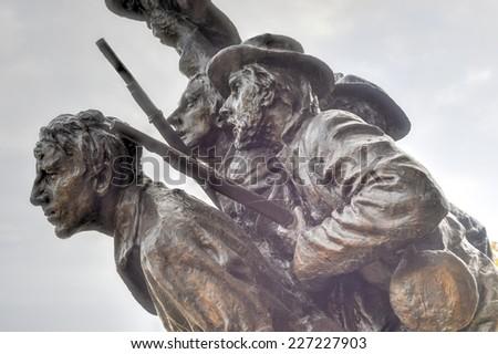 North Carolina monument at the Gettysburg National Military Park, Pennsylvania. - stock photo