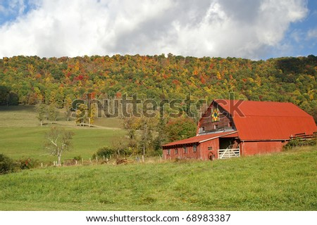 North Carolina Red Barn With Barn Quilt Decoration Horizontal With Copy Space - stock photo