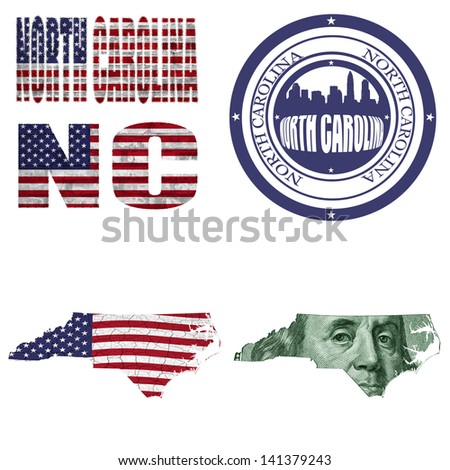 North Carolina state collage (map, stamp,word,abbreviation) in different styles in different textures - stock photo