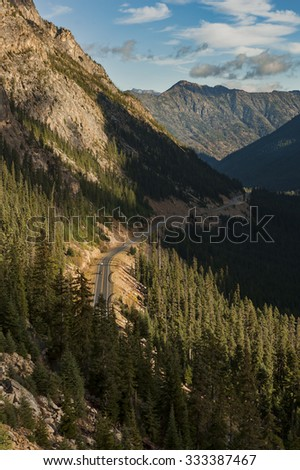 North Cascades Highway. Highway 20 traverses the north cascades mountains from western Washington to eastern Washington. One of the most scenic and beautiful highways in the world. - stock photo