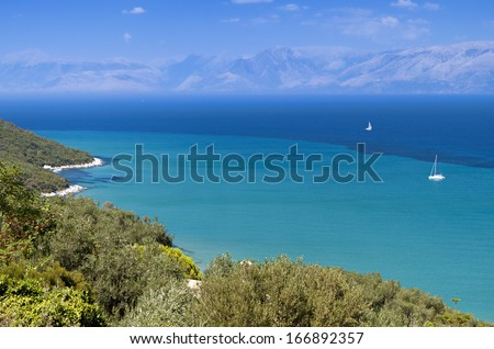 North coast of Corfu island in Greece - stock photo