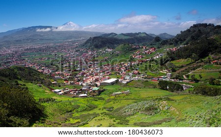 North-east of Tenerife, La Laguna and Teide  - stock photo