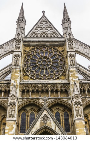 North Entrance of Westminster Abbey (Collegiate Church of St Peter at Westminster) - Gothic church in City of Westminster, London. Westminster is traditional place of coronation for English monarchs. - stock photo