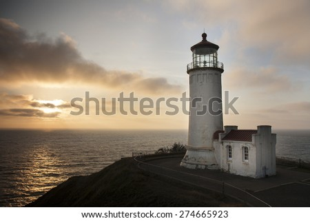 North Head Lighthouse at Cape Disappointment at Washington State - stock photo