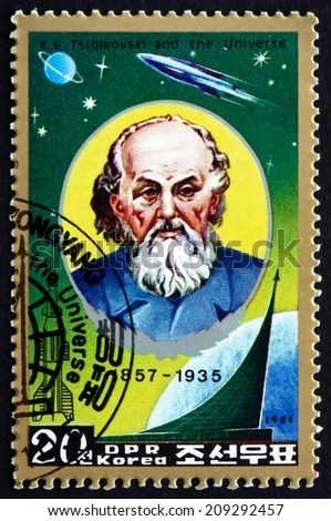 NORTH KOREA - CIRCA 1984: a stamp printed in North Korea shows Konstantin Eduardovich Tsiolkovsky, Russian Rocket Scientist and Pioneer of the Astronautic Theory, circa 1984 - stock photo