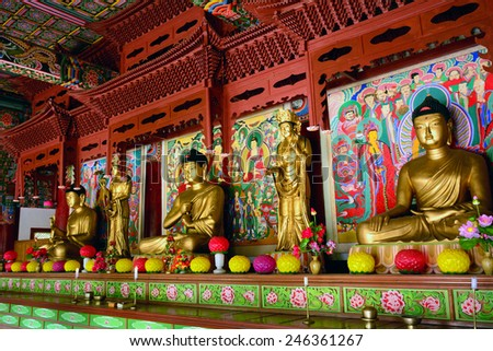 NORTH KOREA - JUNE 12:Pohyon temple on June 12, 2014 in North Korea. Buddhism is present but controlled in North Korea. - stock photo