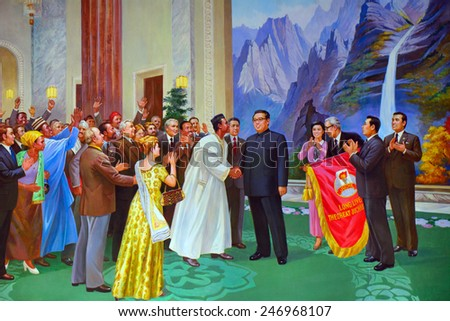 NORTH KOREA, SARIWON - JUNE 13: Kim Il-sung and African leaders on a painting at June 13, 2014 in Sariwon, Kim Il-sung was the first president of the DPRK. - stock photo