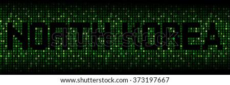 North Korea text on hex code illustration - stock photo