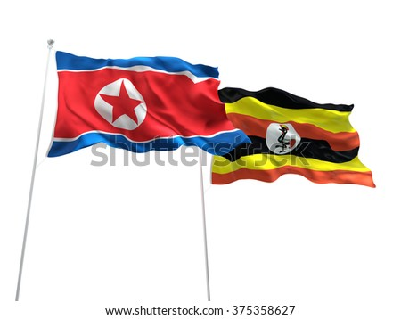 North Korea & Uganda Flags are waving on the isolated white background - stock photo