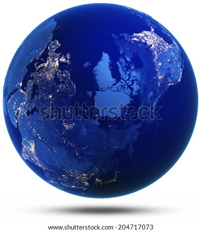 North of Earth modified reflected 3d render. Elements of this image furnished by NASA - stock photo