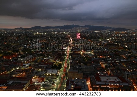 North of Mexico City from the Latino Tower - stock photo
