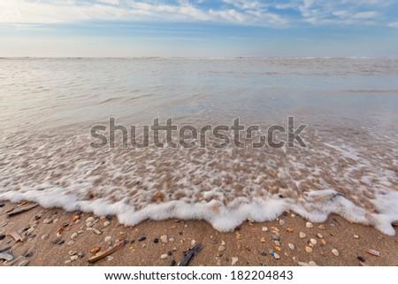 North sea waves ob sand beach with mollusk shells, Holland - stock photo