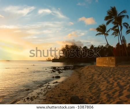 North Shore Beach at Sunset - stock photo