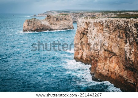 North shore of Cape St. Vincent as seen from the lighthouse in Sagres, Portugal. - stock photo