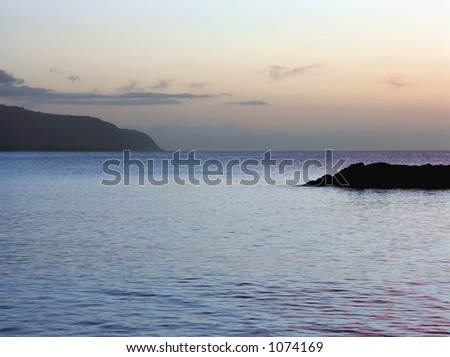 North Shore of Oahu at Twilight - stock photo