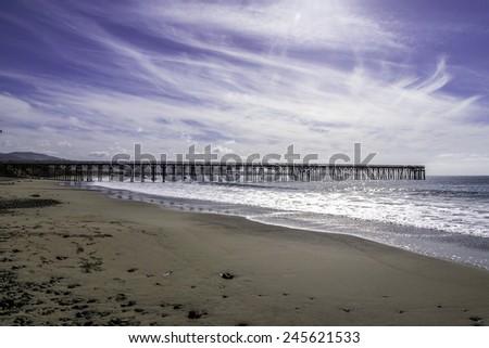 North side of the San Simeon Pier, on the California Central  Coast, near Cambria, CA. - stock photo