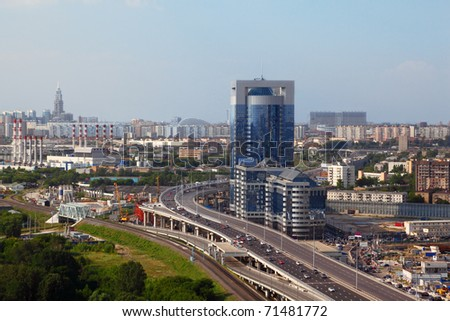 North Tower - new modern business center, third transport ring. Panorama of Moscow, Russia - stock photo