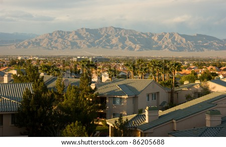 North View Las Vegas Mountain Range Mojave Desert Nevada, USA - stock photo