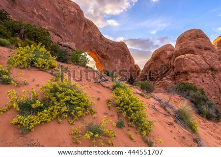 North Window, Arches National Park in Utah - stock photo