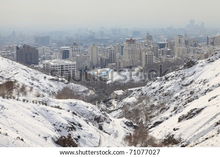 Northern area of Tehran city in winter - stock photo