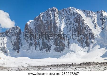 Northern face of Free Korea Peak, Ala Archa National Park (Kyrgyzstan) - stock photo