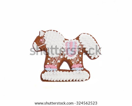 northern gingerbread kozula in form of horse - stock photo