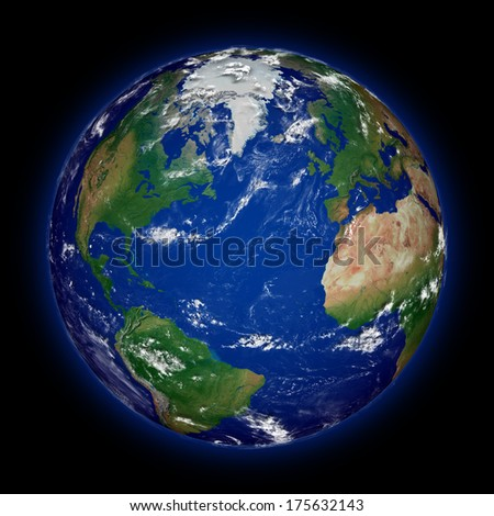 Northern hemisphere on blue planet Earth isolated on black background. Highly detailed planet surface. Elements of this image furnished by NASA. - stock photo
