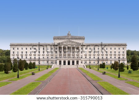 Northern Ireland Parliament and Government building in Stormont, Belfast - stock photo