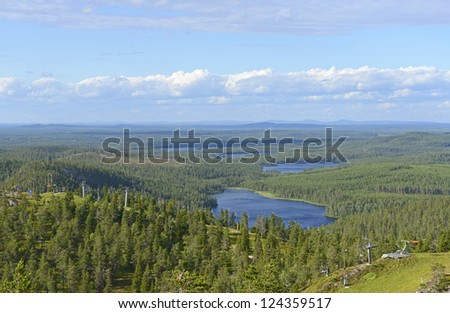 Northern landscape. Northern Finland - stock photo
