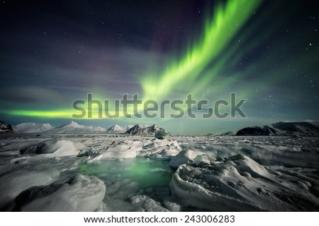 Northern Lights above the frozen Arctic fjord - stock photo