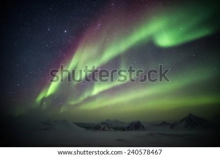 Northern Lights - Arctic landscape  - stock photo
