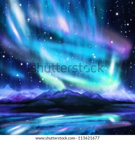 northern lights ,aurora borealis ,dramatic landscape - stock photo