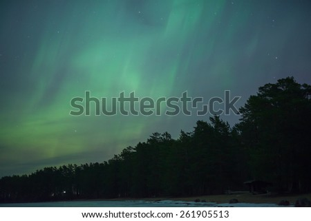 Northern lights (Aurora borealis) in south of Sweden - stock photo