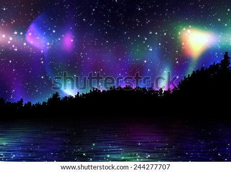 Northern lights, aurora borealis in the sky over the night forest. - stock photo