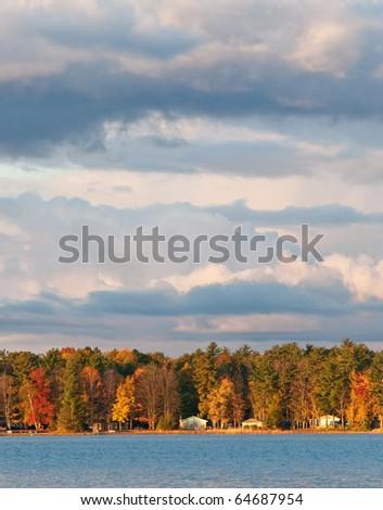 northern michigan shoreline during fall at sunset - stock photo