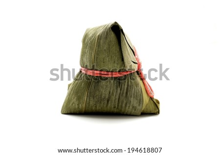 Northern-style Zongzi tied with bamboo leaves  - stock photo