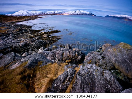 Northern Terrain, landscape coastal scene from Norway - stock photo