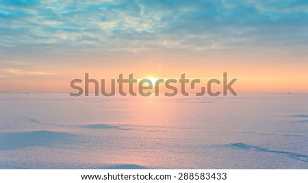 Northern Twilight Setting Sun  - stock photo