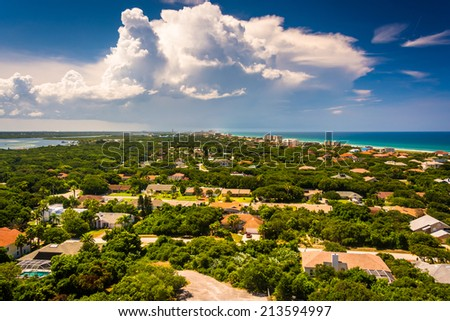 Northern view toward Daytona Beach, seen from the top of Ponce de Leon Inlet Lighthouse, Florida. - stock photo